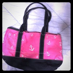 J crew pink and navy anchor purse
